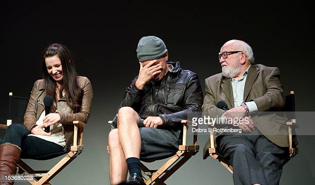 Kate Arrington Michael Shannon and Ed Asner attend Meet The Cast of Broadway's Grace at the Apple Store Soho on October 8 2012 in New York City