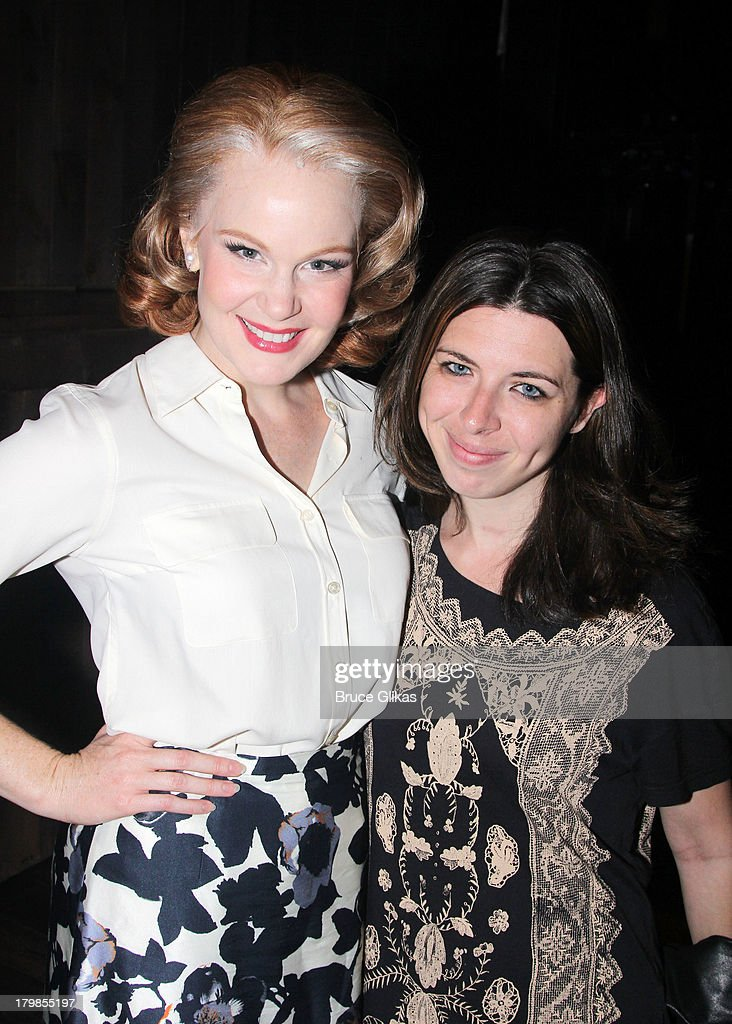Kate Baldwin and Heather Matarazzo pose backstage at the musical 'Big Fish' on Broadway at The Neil Simon Theater on September 6, 2013 in New York City.