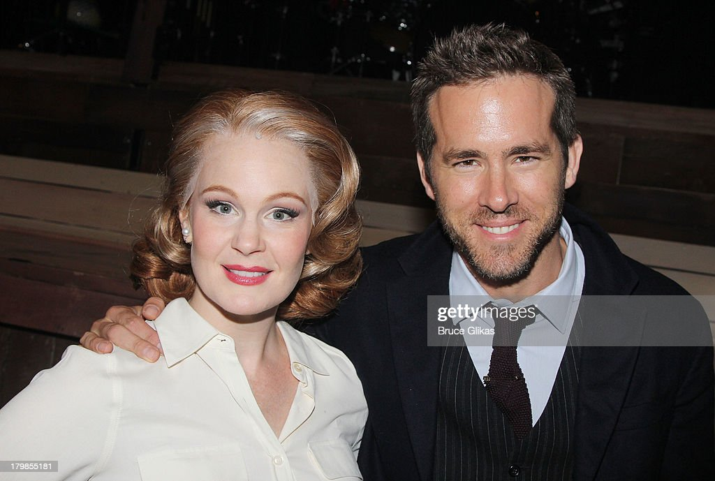 Kate Baldwin and Ryan Reynolds pose backstage (as Ryan Reynolds and wife Blake Lively celebrate their 1st wedding anniversary) at the musical 'Big Fish' on Broadway at The Neil Simon Theater on September 6, 2013 in New York City.