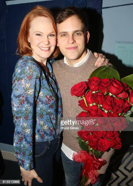 Kate Baldwin and Taylor Trensch pose backstage as Taylor Trensch joins the cast of Dear Evan Hansen on Broadway at The Music Box Theatre on February...
