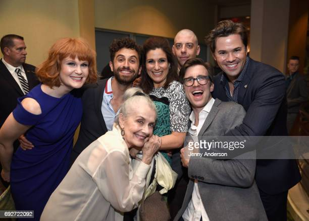 Kate Baldwin Brandon Uranowitz Mary Beth Peil Stephanie J Block Christian Borle Gavin Creel and Andrew Rannells attend the Tony Honors Cocktail Party...