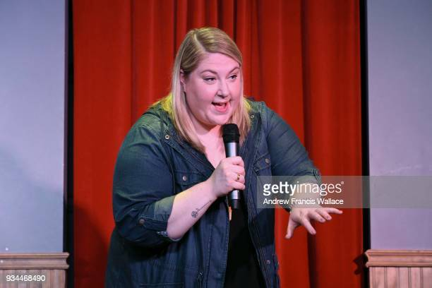Kate Barron on stage at Second City's John Candy Box Theatre she'll have a mic and will be simulating a standup performance for us