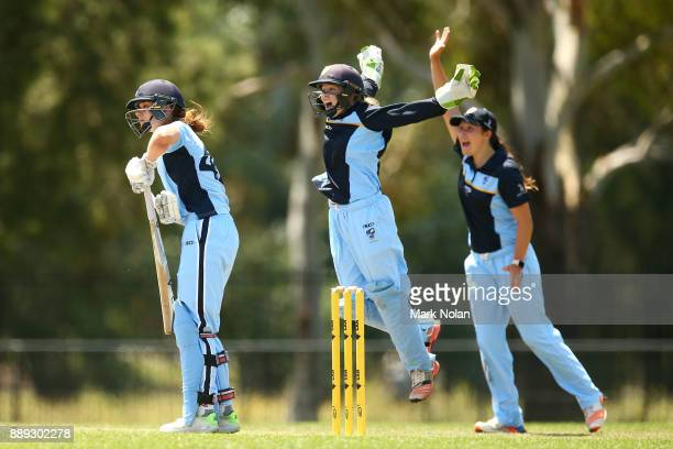 Kate Barry of NSW Metro is caught behind by Matilda Lugg of NSW ACT during the Final of U18 Female Championships between NSW Metro and ACT & NSW...