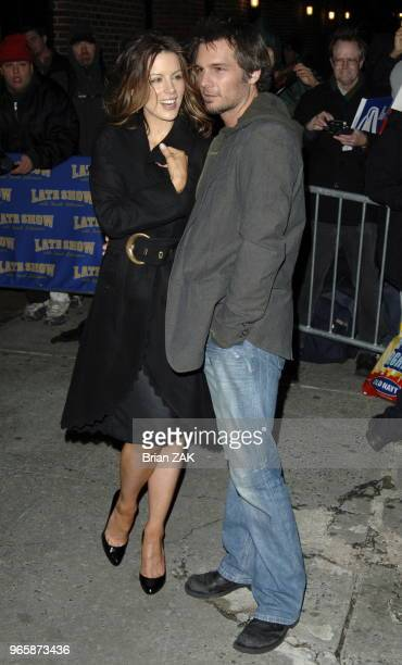 Kate Beckinsale and Len Wiseman exit 'The Late Show with David Letterman' New York City Brian Zak