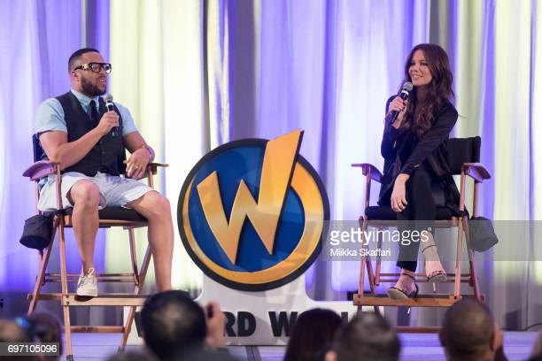Kate Beckinsale answers questions by moderator Victor Dandridge during From Underworld to Wizard World A Conversation with Kate Beckinsale session at...