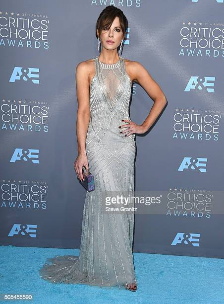 Kate Beckinsale arrives at the The 21st Annual Critics' Choice Awards at Barker Hangar on January 17 2016 in Santa Monica California