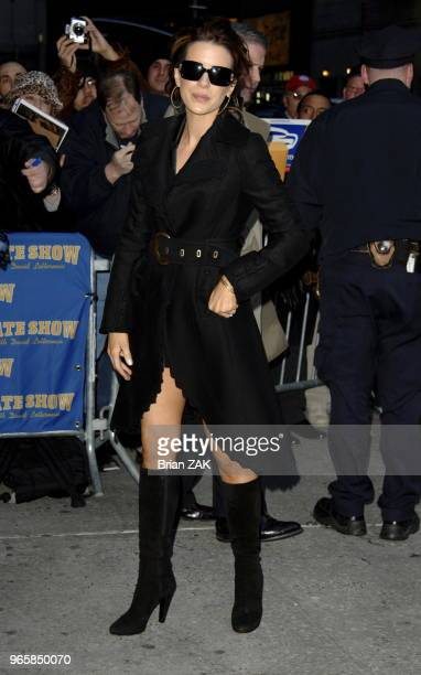 Kate Beckinsale arriving at the Late Show with David Letterman in New York City Brian Zak