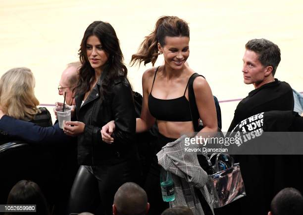 Kate Beckinsale attends a basketball game between the Houston Rockets and Los Angeles Lakers at Staples Center on October 20 2018 in Los Angeles...