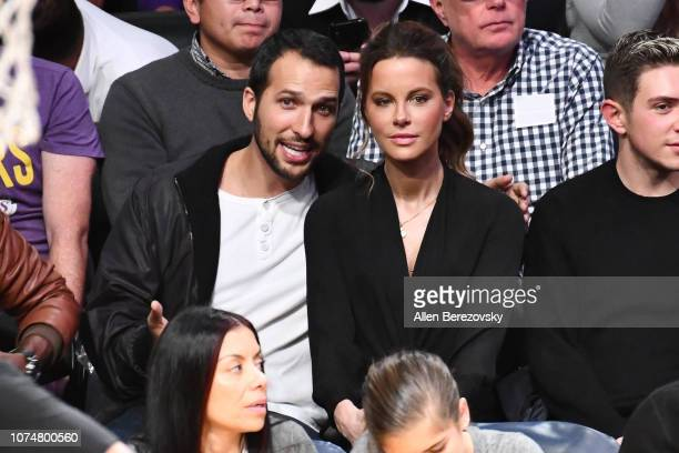 Kate Beckinsale attends a basketball game between the Los Angeles Lakers and the Indiana Pacers at Staples Center on November 29 2018 in Los Angeles...