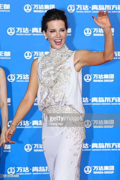 Kate Beckinsale attends the red carpet show for the Qingdao Oriental Movie Metropolis on September 22 2013 in Qingdao China