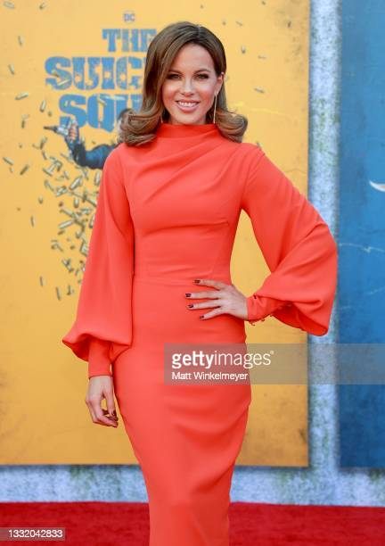 """Kate Beckinsale attends the Warner Bros. Premiere of """"The Suicide Squad"""" at Regency Village Theatre on August 02, 2021 in Los Angeles, California."""