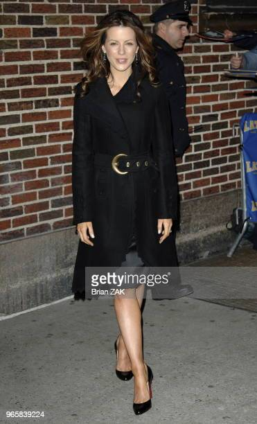 Kate Beckinsale exits 'The Late Show with David Letterman' New York City Brian Zak