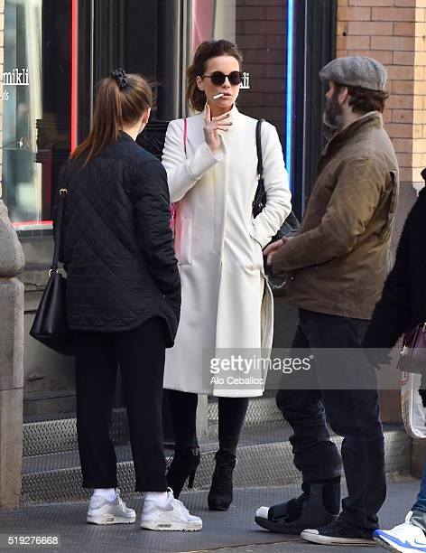 Kate Beckinsale Lily Mo Sheen and Michael Sheen are seen in Soho on April 5 2016 in New York City