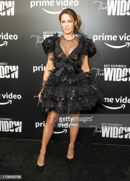 Kate Beckinsale wearing dress by Giambattista Valli attends Amazon Prime Videos New York premiere of The Widow at Crosby Street Hotel