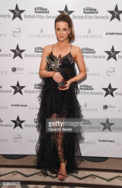 Kate Beckinsale winner of the Best Actress award for 'Love Friendship' poses at The London Evening Standard British Film Awards at Claridge's Hotel...