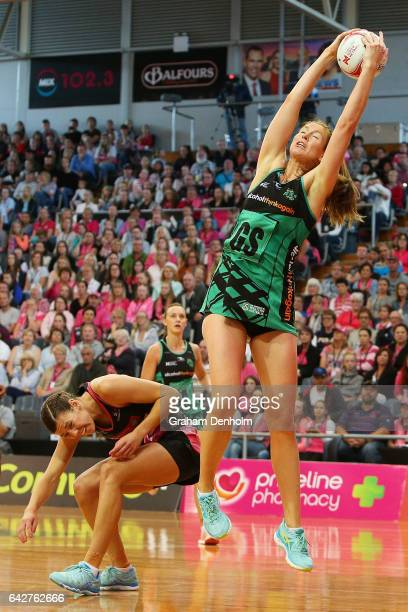 Kate Beveridge of the Fever catches the ball during the round one Super Netball match between the Thunderbirds and Fever on February 19 2017 in...