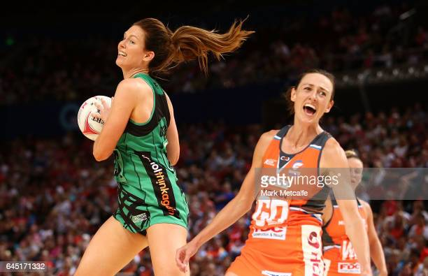 Kate Beveridge of the Fever in action during the round two Super Netball match between the Giants and the West Coast Fever at Qudos Bank Arena on...