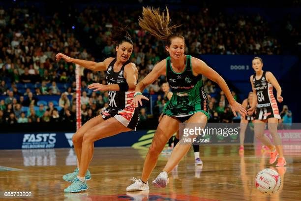 Kate Beveridge of the Fever looks to pass the ball during the round 13 Super Netball match between the Fever and the Magpies at Perth Arena on May 20...