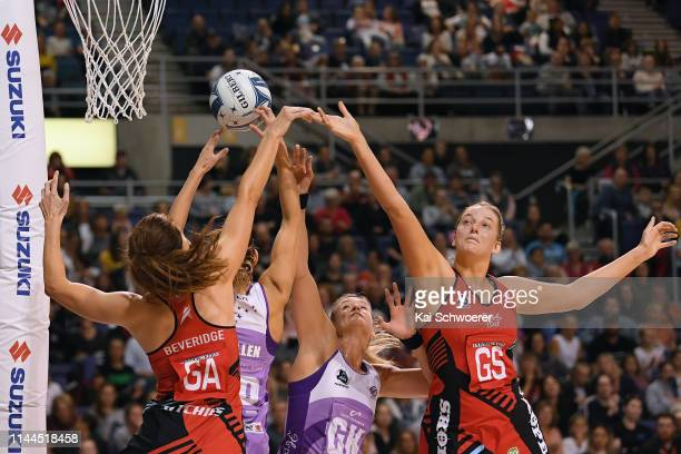 Kate Beveridge of the Tactix Kayla Cullen of the Northern Stars Leana de Bruin of the Northern Stars and Ellie Bird of the Tactix compete for the...