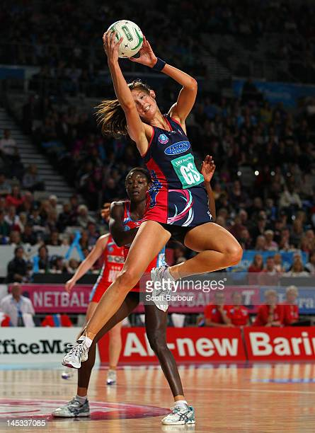 Kate Beveridge of the Vixens catches a pass during the round nine ANZ Championship match between the Melbourne Vixens and the Sydney Swifts at...