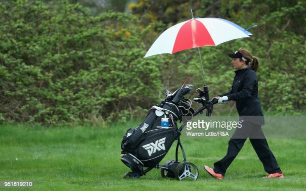 Kate Bibby plays the third hole duirng the first round of the Girls' U16 Open Championship at Fulford Golf Club on April 27 2018 in York England
