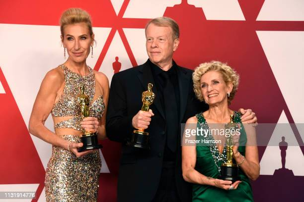 Kate Biscoe Greg Cannom and Patricia Dehaney winners of Best Makeup and Hairstyling for Vice pose in the press room during the 91st Annual Academy...