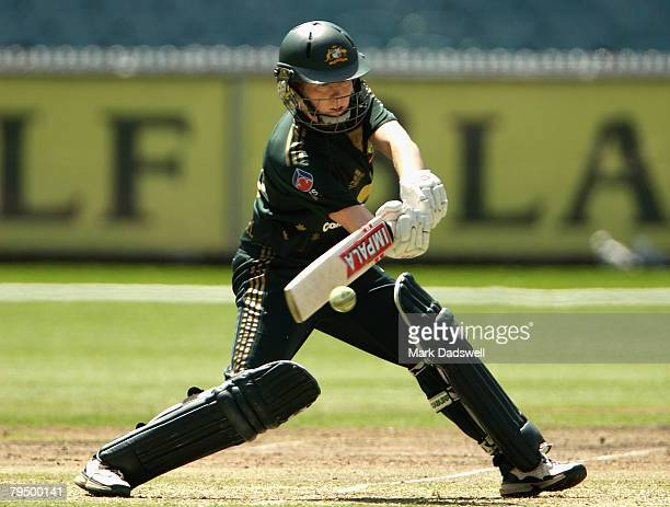 Kate Blackwell of the Southern Stars square cuts during the Women's One Day International match between the Australian Southern Stars and England at...