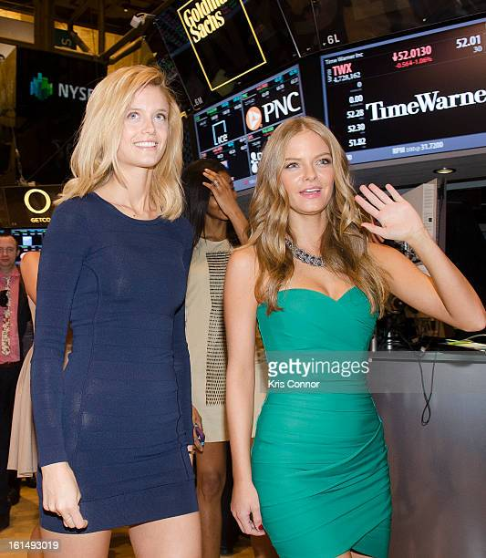 Kate Bock and Jessica Perez arrives to ring in the closing bell at New York Stock Exchange on February 11 2013 in New York City