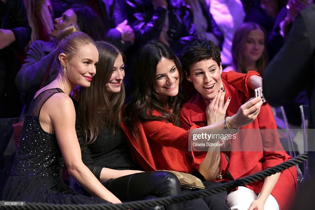 Kate Bosworth, Alexandra Maria Lara, Bettina Zimmermann and Jasmin Gerat take a selfie during the Marc Cain fashion show fall/winter 2017 'Ballet magnifique' at 'Telekom Representation' on January 17, 2017 in Berlin, Germany.