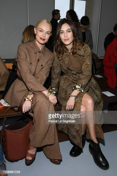 Kate Bosworth and Alexa Chung attend the Chloe show as part of the Paris Fashion Week Womenswear Fall/Winter 2020/2021 on February 27, 2020 in Paris,...