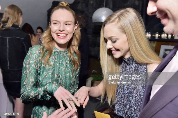 Kate Bosworth and Amanda Seyfried attend the HM celebration of 2018 Conscious Exclusive collection at John Lautner's Harvey House on April 5 2018 in...
