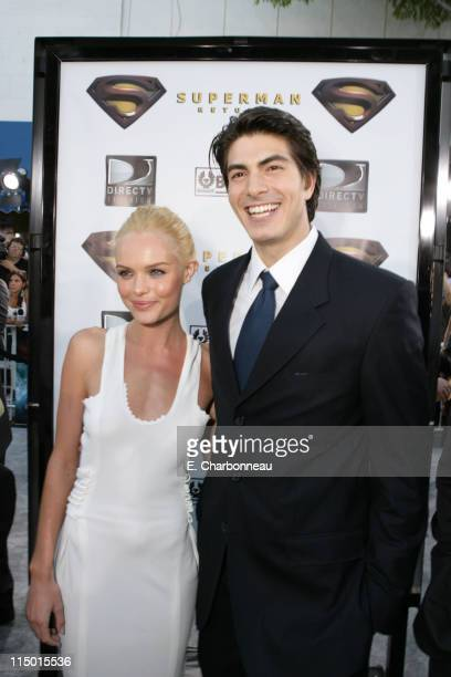 """Kate Bosworth and Brandon Routh during Warner Bros. World Premiere of """"Superman Returns"""" at Village and Bruin Theatre in Westwood, California, United..."""