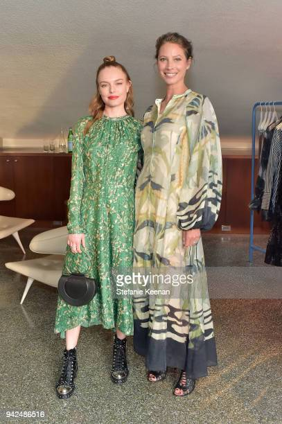 Kate Bosworth and Christy Turlington attend the HM celebration of 2018 Conscious Exclusive collection at John Lautner's Harvey House on April 5 2018...