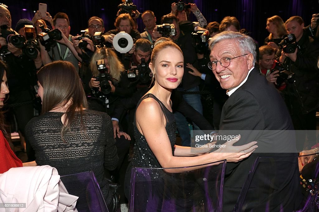 Kate Bosworth and Helmut Schlotterer, Founder and CEO of Marc Cain during the Marc Cain fashion show fall/winter 2017 'Ballet magnifique' at 'Telekom Representation' on January 17, 2017 in Berlin, Germany.