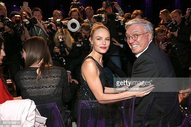 Kate Bosworth and Helmut Schlotterer Founder and CEO of Marc Cain during the Marc Cain fashion show fall/winter 2017 'Ballet magnifique' at 'Telekom...