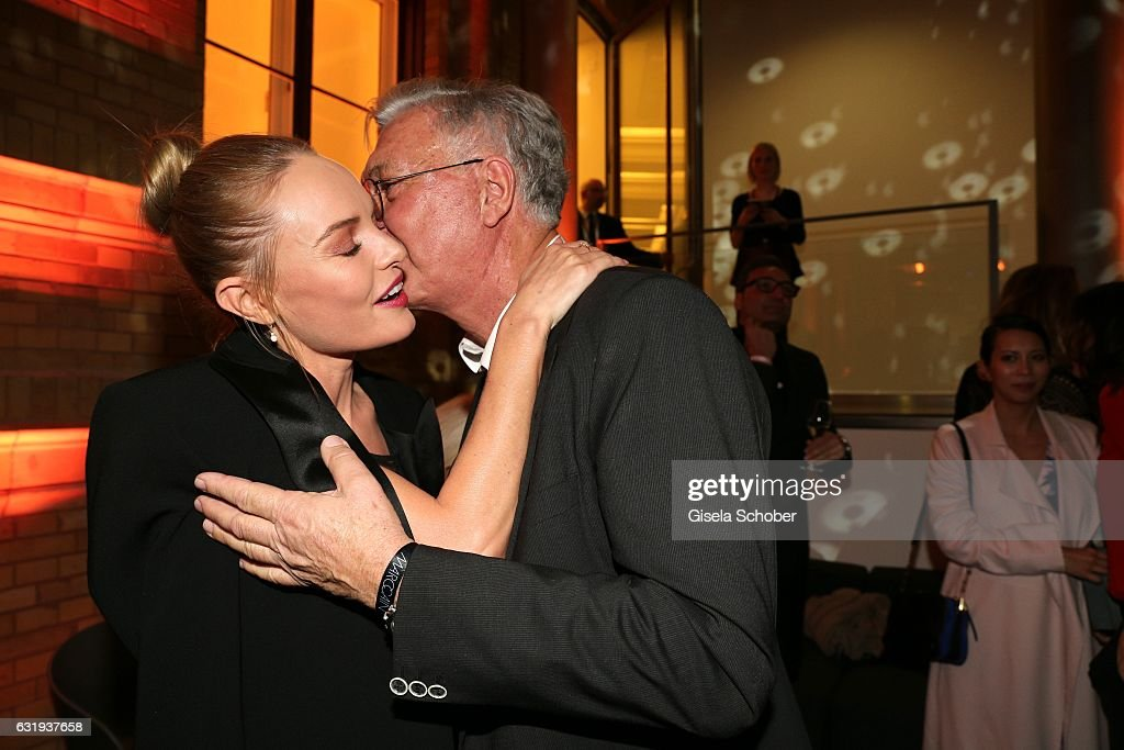 Kate Bosworth and Helmut Schlotterer, Founder and CEO of Marc Cain during the Marc Cain fashion show fall/winter 2017 VIP Cocktail 'Ballet magnifique' at 'Telekom Representation' on January 17, 2017 in Berlin, Germany.