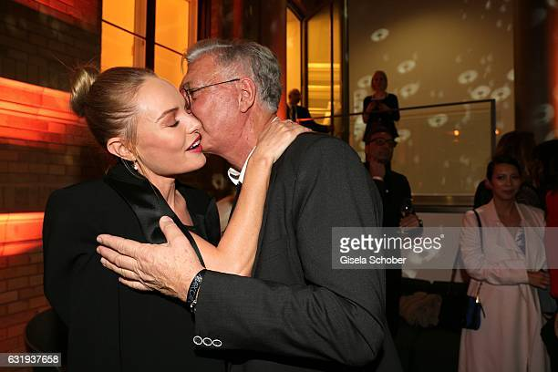 Kate Bosworth and Helmut Schlotterer Founder and CEO of Marc Cain during the Marc Cain fashion show fall/winter 2017 VIP Cocktail 'Ballet magnifique'...
