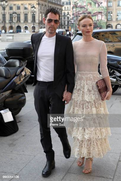 Kate Bosworth and her husband Michael Polish arrives at a Dior dinner at the Place Vendome on July 2 2018 in Paris France