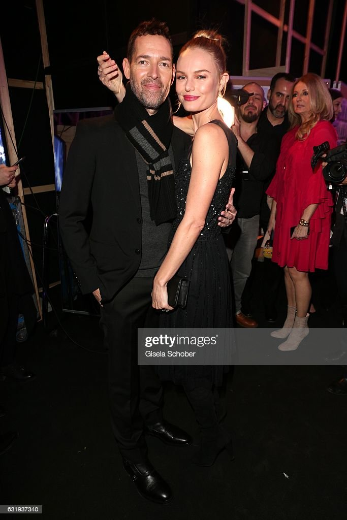 Kate Bosworth and her husband Michael Polish during the Marc Cain fashion show fall/winter 2017 VIP Cocktail 'Ballet magnifique' at 'Telekom Representation' on January 17, 2017 in Berlin, Germany.