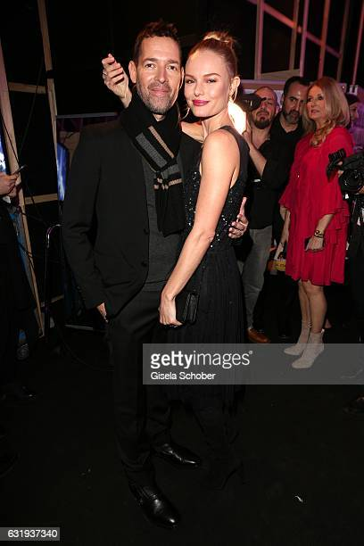 Kate Bosworth and her husband Michael Polish during the Marc Cain fashion show fall/winter 2017 VIP Cocktail 'Ballet magnifique' at 'Telekom...
