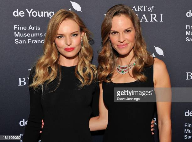 Kate Bosworth and Hilary Swank attend the Bvlgari Retrospective Opening at M H de Young Memorial Museum on September 18 2013 in San Francisco...