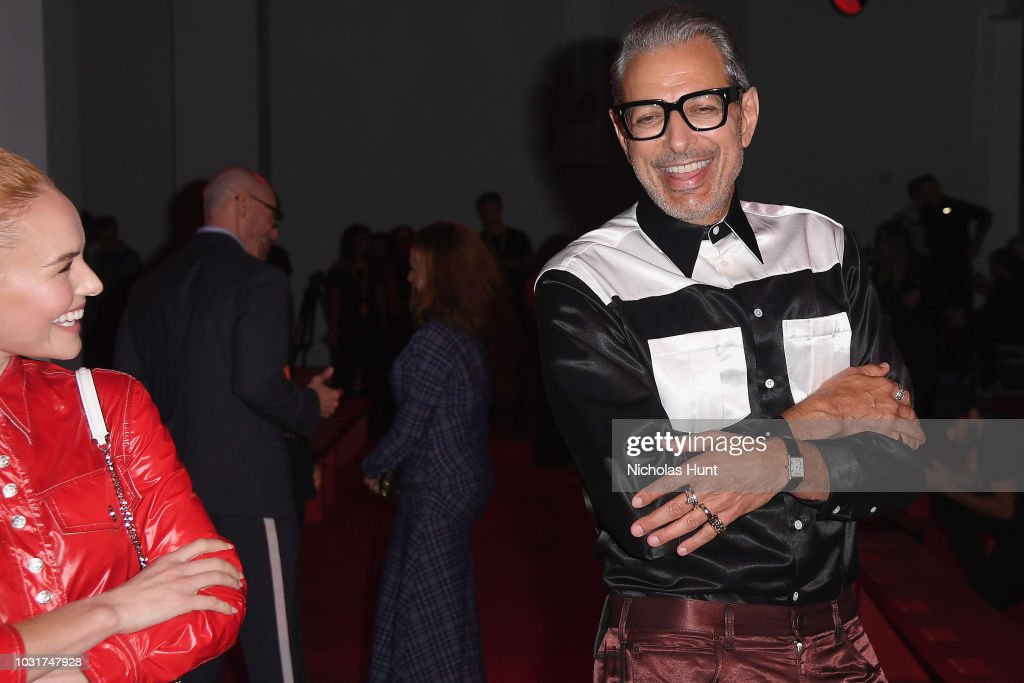 Kate Bosworth (L) and Jeff Goldblum attend the Calvin Klein Collection front Row during New York Fashion Week at New York Stock Exchange on September 11, 2018 in New York City.