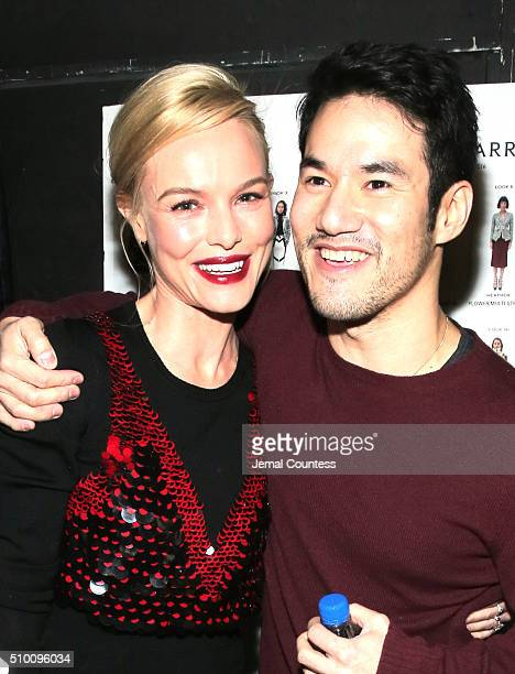 Kate Bosworth and Joseph Altuzarra appear backstage at the Altuzarra Fall 2016 fashion show during New York Fashion Week at Spring Studios on...