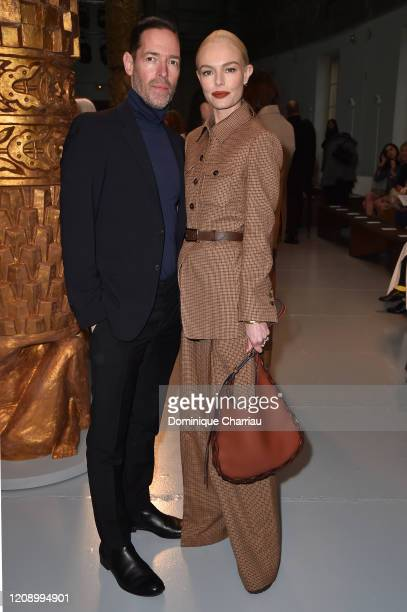 Kate Bosworth and Michael Polish attend the Chloe show as part of the Paris Fashion Week Womenswear Fall/Winter 2020/2021 on February 27, 2020 in...