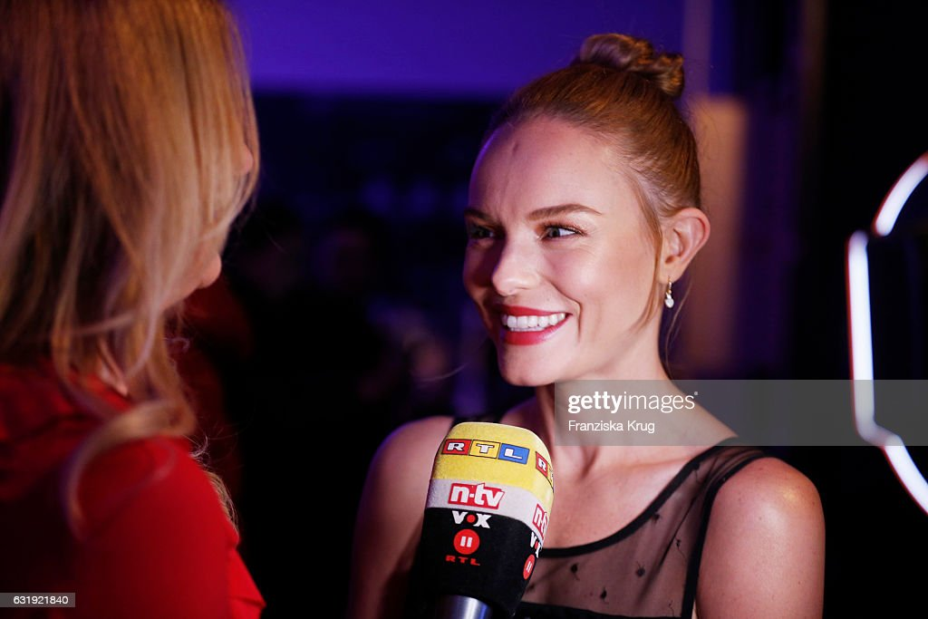 Kate Bosworth gives an interview ahead of the VIP cocktail reception after the Marc Cain fashion show A/W 2017 at Deutsche Telekom representation on January 17, 2017 in Berlin, Germany.