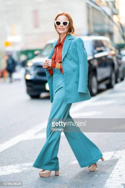 Kate Bosworth is seen wearing Proenza Schouler suit with Chloe shirt in Chelsea on December 07, 2018 in New York City.