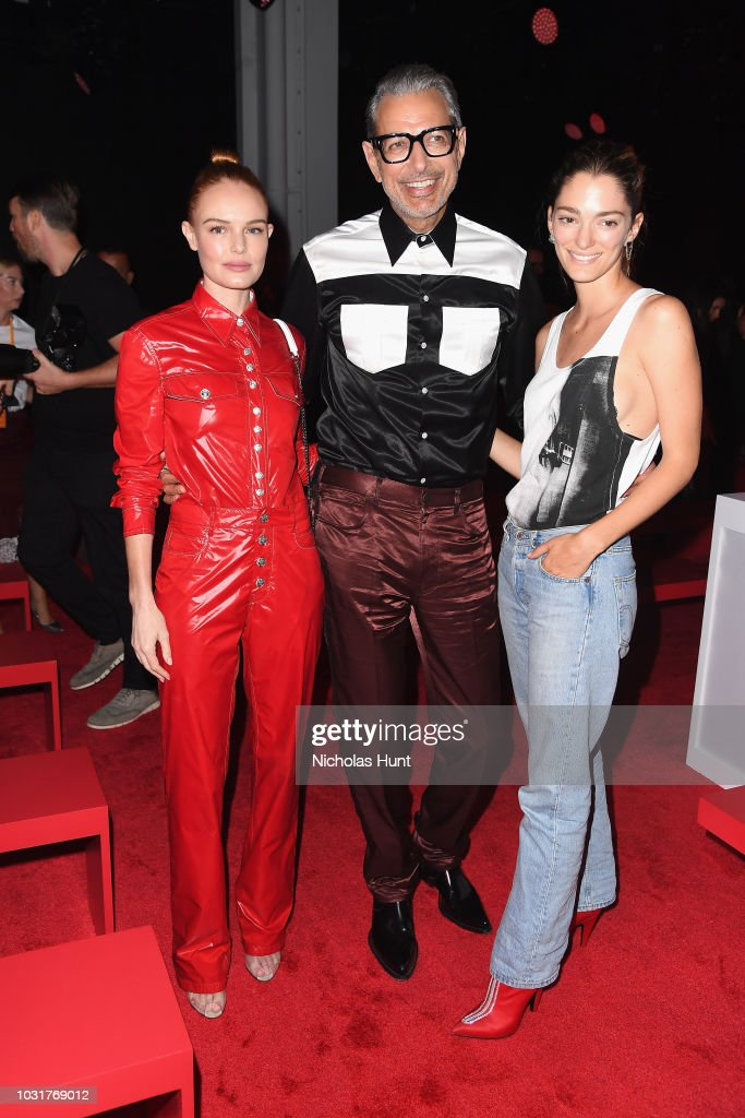 Kate Bosworth, Jeff Goldblum and Sofia Sanchez de Betak attend the Calvin Klein Collection front Row during New York Fashion Week at New York Stock Exchange on September 11, 2018 in New York City.