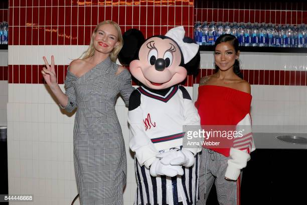 Kate Bosworth Minnie Mouse wearing custom Monse look and Jhene Aiko pose backstage at Monse SS18 NYFW show at The Eugene on September 8 2017 in New...