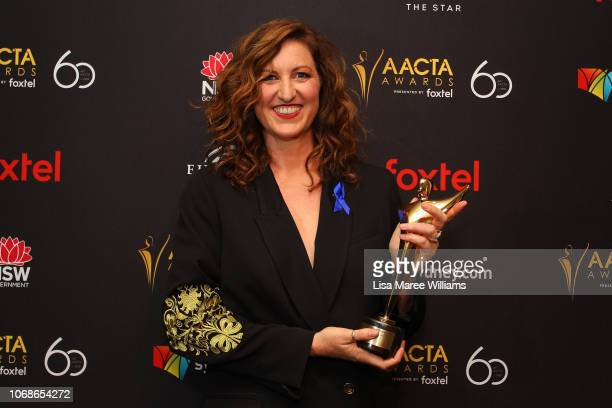 Kate Box poses in the media room with the AACTA Award for Best Lead Actress in a Television Drama during the 2018 AACTA Awards Presented by Foxtel at...