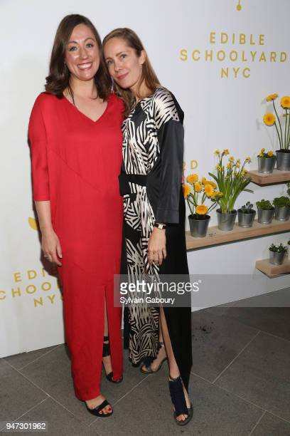 Kate Brashares and Christine Muhlke attend Edible Schoolyard NYC 2018 Spring Benefit at 180 Maiden Lane on April 16 2018 in New York City